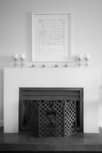 Lounge fireplace black and white